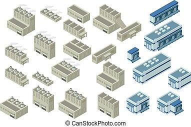 épület, isometric, vektor, ábra