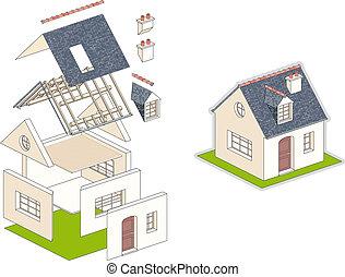 épület, isometric, vektor, ábra, felszerelés