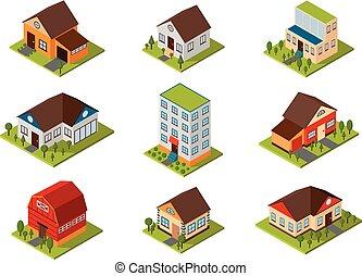 épület, isometric, vektor, illustration.