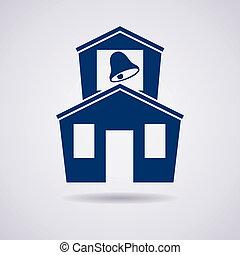 épület, izbogis, vektor, ikon