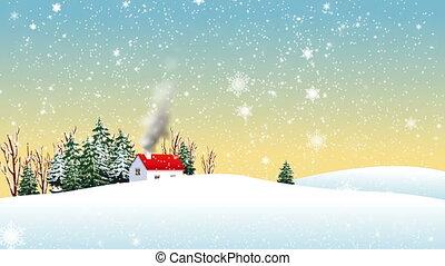 épület, jön, hó, dohányzik, ki