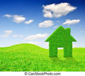 épület, jelkép, fű, zöld
