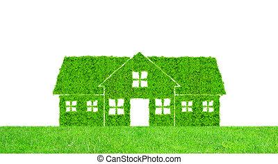 épület, jelkép, zöld
