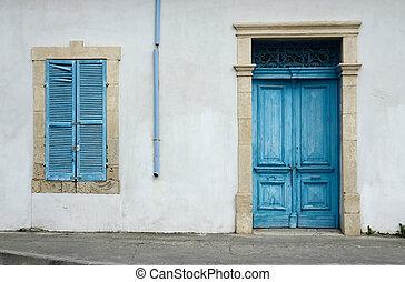 épület, kék, öreg, ciprusi, fából való, fénykép, pipa, fényes, sűrű ajtó, fehér, idős, rainwater, zsalu, jellegzetes