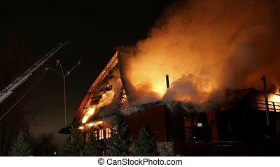 épület, képben látható, fire., pokol, conflagration.