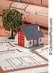épület, képben látható, terv