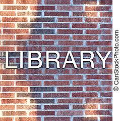 épület, könyvtár, aláír