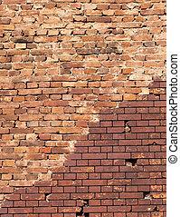 épület, közelkép, elkészített, öreg, tégla, fal, modern, görbítő, restaurálás, felújít, rész, egyenes, piros