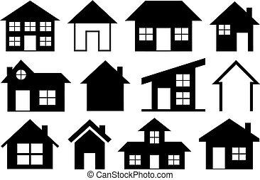 épület, különböző, állhatatos