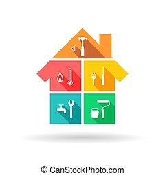épület, különböző, eszközök