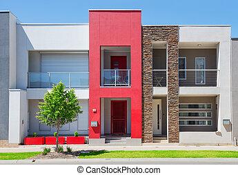 épület, külvárosi, modern