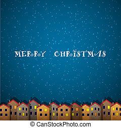 épület, karácsonyi üdvözlőlap