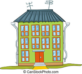 épület, karikatúra