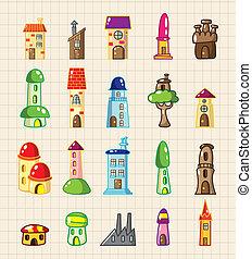 épület, karikatúra, ikon