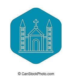 épület, katolikus, mód, áttekintés, templom, ikon