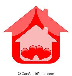 épület, kellemes, piros