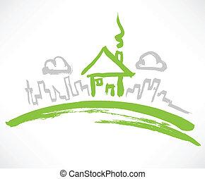 épület, kevés, zöld