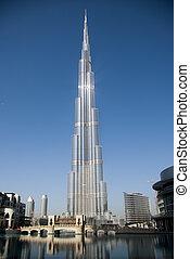épület, khalifa, burj, is, ismert, világ, legmagasabb, dubai