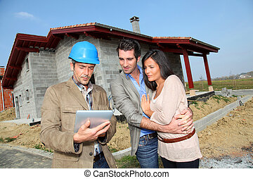 épület, kiállítás, vállalkozó, szerkesztés, alatt, párosít