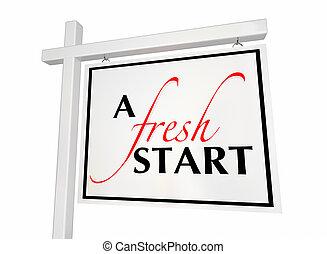 épület, kiárusítás, ábra, aláír, elindít, friss, lépés saját, új, 3