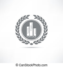 épület, kiárusítás, ikon