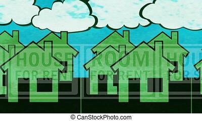 épület, kiárusítás, lakbér, hurkolás, háttér