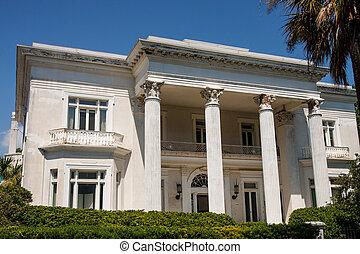 épület, klasszikus, stukkó, columned