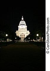 épület, kongresszus székháza washingtonban, belvárosi, állam, éjszaka, texas, austin