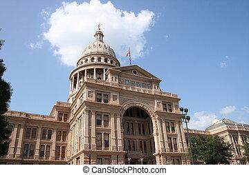 épület, kongresszus székháza washingtonban, belvárosi, állam, texas, austin