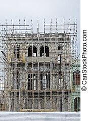 épület, kubai, öreg, helyreállítás, alatt