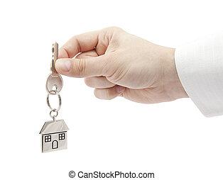 épület kulcs, alatt, kéz