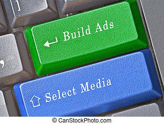 épület, kulcsok, kiválasztás, hirdetés, média