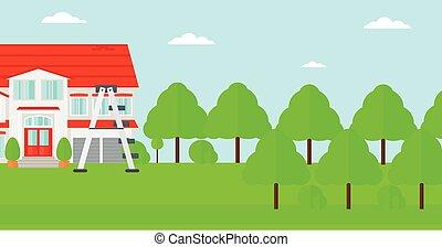 épület, lábnyom, ladder., háttér