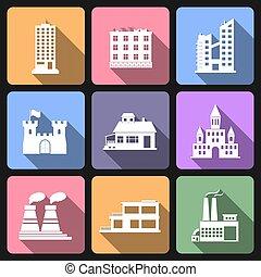 épület, lakás, állhatatos, ikonok