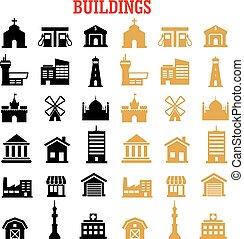 épület, lakás, fekete, sárga, ikonok