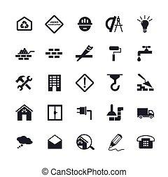 épület, lakás, ikonok