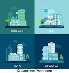 épület, lakás, orvosi