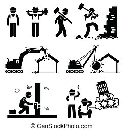 épület, lerombol, pusztítás, ikonok