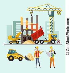 épület, machines., eljárás, emberek., munka, ábra, házhely., épület, vektor, szerkesztés, építők