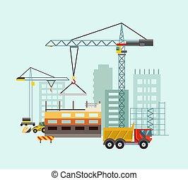 épület, machines., eljárás, munka, ábra, épület, vektor, szerkesztés