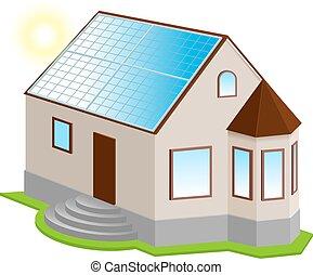 épület, magán, roof., nap-, új, 3, bizottság