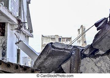 épület, maradványok, ipari, lerombol