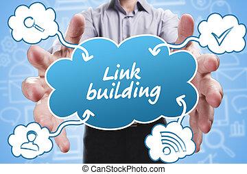 épület, marketing., technológia, gondolkodó, about:, fiatal, ügy, összekapcsol, internet, üzletember