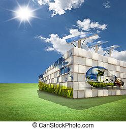 épület, mező, modern, zöld