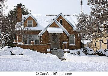 épület, midwest, tél, jellegzetes