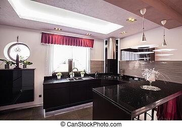 épület, modern, fényűzés, konyha