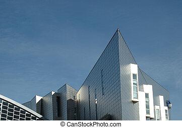 épület, modern, részletez, építészet