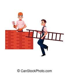 épület, munkás, létra, -, fal, szállítás, másik, szerkesztés, építők, tégla