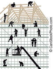 épület, munkás, szerkesztés