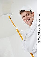 épület, munkás, szobafestő, boldog